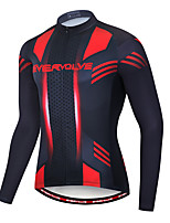 cheap -EVERVOLVE Men's Long Sleeve Cycling Jersey Terylene Black Geometic Bike Jersey Top Mountain Bike MTB Road Bike Cycling Breathable Quick Dry Sweat-wicking Sports Clothing Apparel / Stretchy