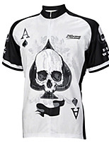 cheap -21Grams Men's Short Sleeve Cycling Jersey 100% Polyester Black / White Skull Poker Bike Jersey Top Mountain Bike MTB Road Bike Cycling UV Resistant Breathable Quick Dry Sports Clothing Apparel