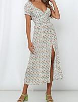 cheap -Women's A Line Dress - Floral Maxi Light Green S M L XL