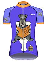 Недорогие -21Grams Жен. С короткими рукавами Велокофты Синий С собакой Животное Велоспорт Джерси Верхняя часть Горные велосипеды Шоссейные велосипеды Устойчивость к УФ Дышащий Быстровысыхающий Виды спорта Одежда