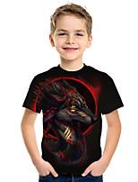 cheap -Kids Boys' Active Punk & Gothic 3D Plaid Animal Short Sleeve Tee Black