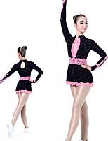 cheap -Rhythmic Gymnastics Leotards Artistic Gymnastics Leotards Women's Girls' Leotard Black Spandex High Elasticity Handmade Jeweled Diamond Look Long Sleeve Competition Dance Rhythmic Gymnastics Artistic