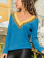 cheap -Women's Daily T-shirt - Color Block Wine