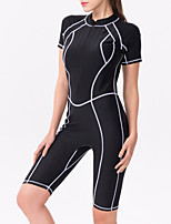 cheap -Women's Rash Guard Dive Skin Suit Elastane Bodysuit Thermal / Warm Breathable Quick Dry Short Sleeve Front Zip - Swimming Surfing Water Sports Patchwork Autumn / Fall Spring Summer / High Elasticity