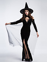 cheap -Witch Outfits Party Costume Adults' Women's Halloween Halloween Festival / Holiday Plush Fabric Black Women's Carnival Costumes / Dress / Hat