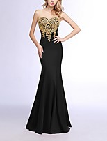 cheap -Mermaid / Trumpet Strapless Floor Length Polyester Black / Red Prom / Formal Evening Dress with Sequin / Appliques 2020