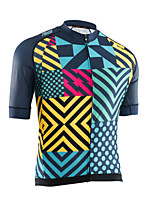 cheap -21Grams Men's Short Sleeve Cycling Jersey 100% Polyester Black / Blue Plaid / Checkered Bike Jersey Top Mountain Bike MTB Road Bike Cycling UV Resistant Breathable Quick Dry Sports Clothing Apparel