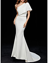 cheap -Mermaid / Trumpet One Shoulder Sweep / Brush Train Polyester Elegant / White Engagement / Formal Evening Dress with Sleek 2020