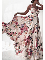 cheap -Women's Maxi Blushing Pink White Dress Swing Print Strap S M