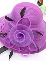 cheap -Vintage Style Fashion Tulle / Organza / Straw Hats / Headwear with Feather / Flower / Trim 1 Piece Wedding / Outdoor Headpiece