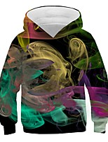 cheap -Kids Boys' Basic Street chic Color Block 3D Print Long Sleeve Hoodie & Sweatshirt Green