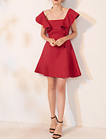 cheap -A-Line Scoop Neck Short / Mini Spandex Sexy / Red Cocktail Party / Homecoming Dress with Ruffles 2020