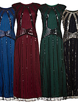cheap -The Great Gatsby Vintage 1920s Flapper Dress Dress Party Costume Women's Sequin Costume Black / Green / Red Vintage Cosplay Party Sleeveless
