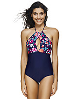 cheap -Women's One Piece Swimsuit Swimwear Breathable Quick Dry Sleeveless Swimming Water Sports Floral / Botanical Summer / High Elasticity