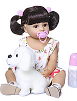 cheap -22 inch Reborn Doll Baby Baby Girl Gift Cute Artificial Implantation Brown Eyes Full Body Silicone Silicone Silica Gel with Clothes and Accessories for Girls' Birthday and Festival Gifts