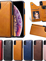 cheap -Case For Apple iPhone XR / iPhone XS Max / iphone X / XS Card Holder / Shockproof Back Cover Solid Colored PU Leather