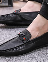 cheap -Men's PU Spring & Summer / Fall & Winter Business / Casual Loafers & Slip-Ons Walking Shoes Breathable Black