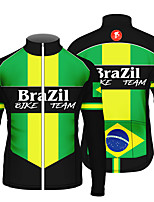 cheap -21Grams Men's Long Sleeve Cycling Jersey 100% Polyester Green / Black Stripes Brazil National Flag Bike Jersey Top Mountain Bike MTB Road Bike Cycling UV Resistant Breathable Quick Dry Sports