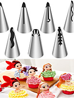 cheap -Korean Flower Mouth 7pcs Barbie Skirt Decorated Mouth Seamless Stainless Steel DIY