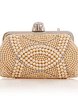 cheap -Women's Crystals / Pearls Polyester Evening Bag Solid Color White / Champagne