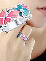 cheap -Women's Ring 1pc Silver Silver-Plated Alloy Christmas Gift Jewelry Butterfly Cute