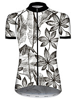 cheap -21Grams Women's Short Sleeve Cycling Jersey 100% Polyester Gray+White Floral Botanical Bike Jersey Top Mountain Bike MTB Road Bike Cycling UV Resistant Breathable Quick Dry Sports Clothing Apparel