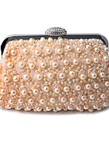 cheap -Women's Crystals / Pearls Polyester / Alloy Evening Bag Solid Color Black / White / Champagne
