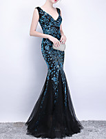 cheap -Mermaid / Trumpet V Neck Floor Length Polyester Luxurious / Turquoise / Teal Engagement / Formal Evening Dress with Sequin / Appliques 2020