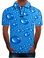 cheap -Men's Daily Going out Street chic / Exaggerated Polo - Color Block / 3D / Graphic Blue