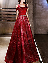 cheap -A-Line Off Shoulder Floor Length Polyester Sparkle / Red Prom / Formal Evening Dress with Sequin / Appliques 2020
