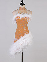 cheap -Latin Dance Dresses Women's Performance Spandex Feathers / Fur / Crystals / Rhinestones Sleeveless Dress
