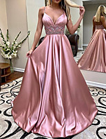 cheap -A-Line V Neck Sweep / Brush Train Charmeuse Elegant / Pink Engagement / Formal Evening Dress with Beading / Pleats 2020