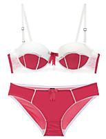 cheap -Women's Push-up Lace Bras Demi-cup Bra & Panty Set Fashion Black Lavender Red