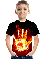 cheap -Kids Boys' Basic Street chic Color Block 3D Print Short Sleeve Tee Black