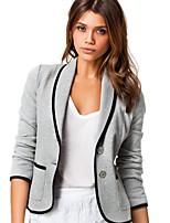 cheap -Women's Blazer, Solid Colored Peter Pan Collar Polyester Black / Yellow / Fuchsia