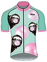 Недорогие -21Grams Муж. С короткими рукавами Велокофты Розовый + зеленый Животное Велоспорт Джерси Верхняя часть Горные велосипеды Шоссейные велосипеды Устойчивость к УФ Дышащий Быстровысыхающий Виды спорта