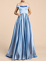 cheap -A-Line Off Shoulder Floor Length Satin Elegant / Blue Engagement / Prom Dress with Sequin 2020