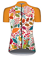 cheap -21Grams Women's Short Sleeve Cycling Jersey 100% Polyester Green / Yellow Floral Botanical Bike Jersey Top Mountain Bike MTB Road Bike Cycling UV Resistant Breathable Quick Dry Sports Clothing Apparel