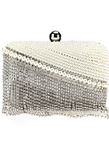 cheap -Women's Crystals / Tassel Alloy Evening Bag Geometric Pattern White
