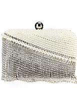 cheap -Women's Crystals / Tassel Alloy Evening Bag Geometric Pattern White