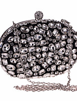 cheap -Women's Crystals / Chain Acrylic / Polyester Evening Bag Solid Color Black / Silver