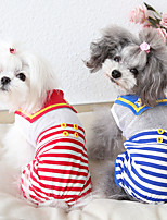 cheap -Dog Costume Jumpsuit Dog Clothes Breathable Red Blue Costume Beagle Bichon Frise Chihuahua Cotton Voiles & Sheers Stripes Casual / Sporty Cute XS S M L XL