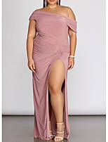 cheap -Sheath / Column One Shoulder Floor Length Spandex Plus Size / Pink Prom / Formal Evening Dress with Pleats / Split 2020