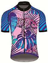cheap -21Grams Men's Short Sleeve Cycling Jersey 100% Polyester Blue+Pink Animal Bike Jersey Top Mountain Bike MTB Road Bike Cycling UV Resistant Breathable Quick Dry Sports Clothing Apparel / Stretchy