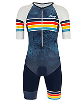 cheap -21Grams Men's Short Sleeve Triathlon Tri Suit Blue / White Stripes Geometic Leaf Bike Clothing Suit UV Resistant Breathable 3D Pad Quick Dry Sweat-wicking Sports Solid Color Mountain Bike MTB Road