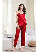 cheap -Women's Backless / Cut Out / Mesh Satin & Silk / Suits Nightwear Jacquard / Solid Colored Red Black Beige S M L