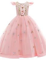 cheap -Kids Toddler Girls' Active Cute Floral Peplum Beaded Bow Short Sleeve Maxi Dress Purple