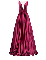 cheap -A-Line Sexy Red Engagement Formal Evening Dress Illusion Neck Sleeveless Sweep / Brush Train Polyester with Pleats 2020
