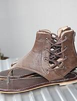 cheap -Women's Sandals Flat Heel Round Toe Suede Spring & Summer Light Brown / Brown / Black