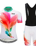cheap -21Grams Women's Short Sleeve Cycling Jersey with Bib Shorts Pink+Green Gradient Bike Clothing Suit Breathable 3D Pad Quick Dry Ultraviolet Resistant Sweat-wicking Sports Solid Color Mountain Bike MTB